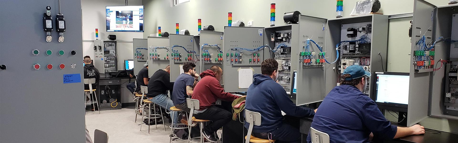 LBCC Students learning in Electrical Technology Lab