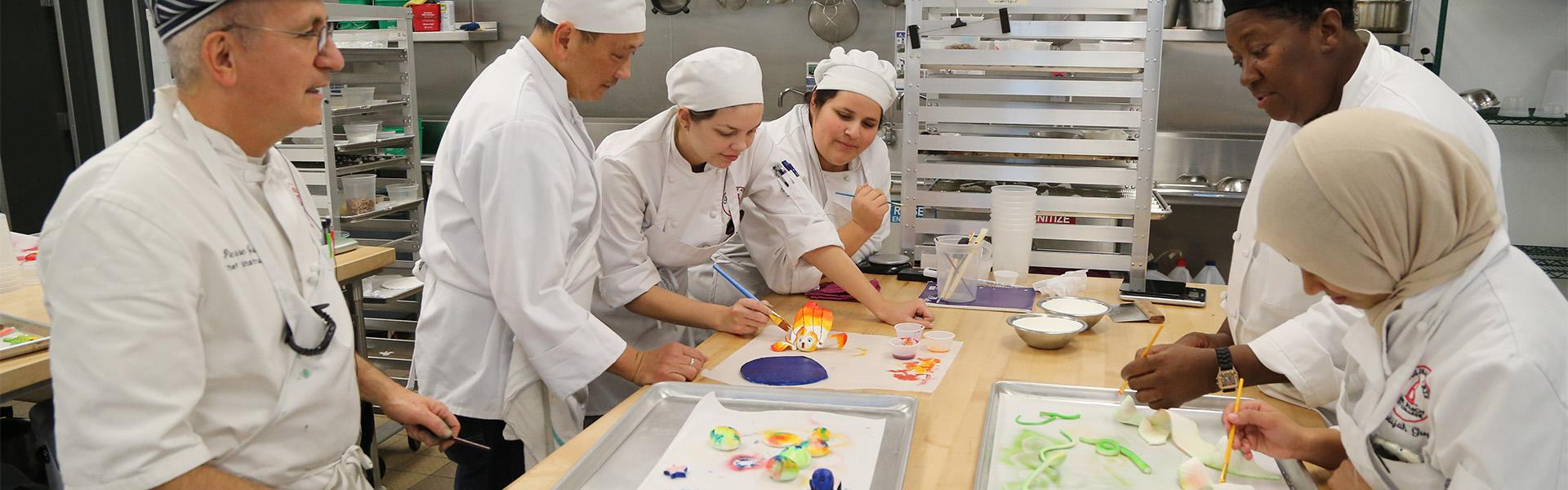 LBCC Students working on Pastry Arts in Culinary Arts kitchen classroom