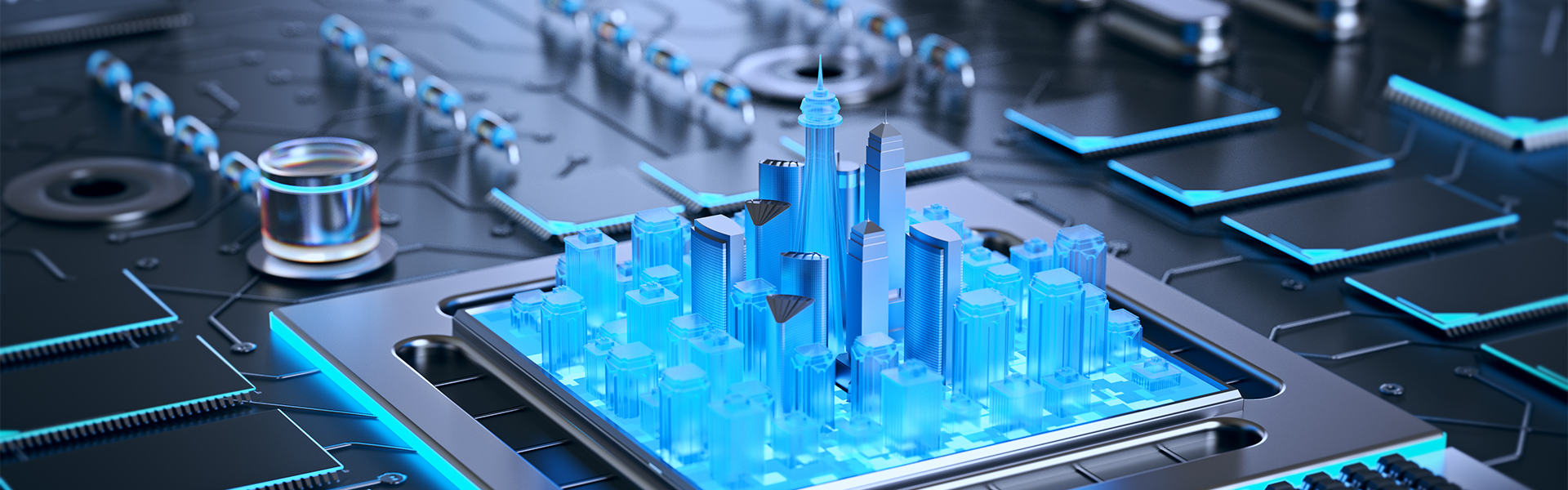 3d illustration of futuristic micro chip city. Computer science information technology background.