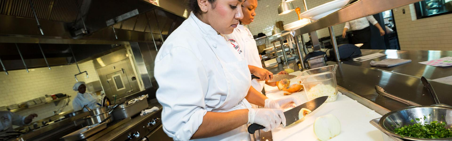 LBCC Culinary Arts Students working in LBCC kitchen