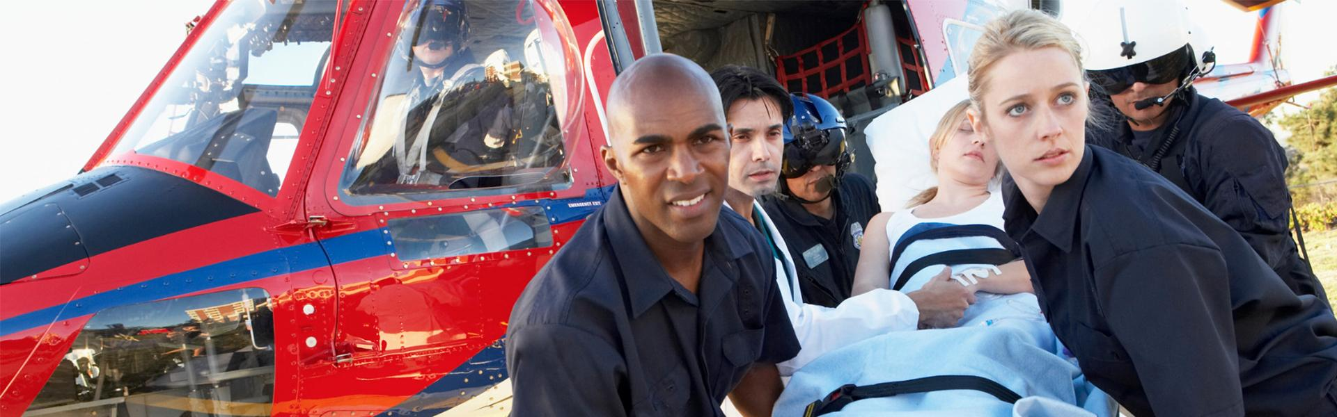 Emergency Technicians rescue patience from helicopter