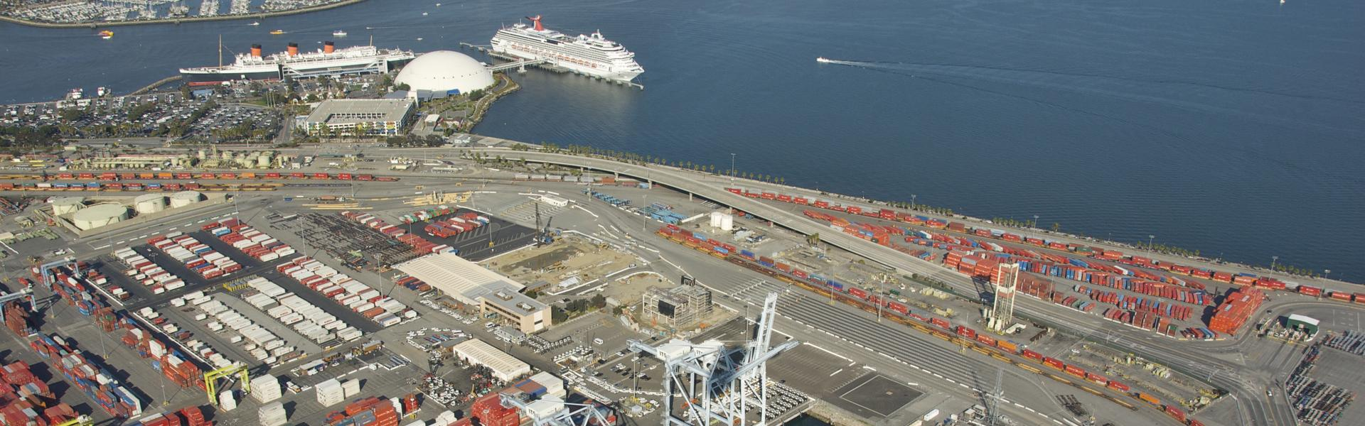 Aerial shot of the Port of Long Beach.