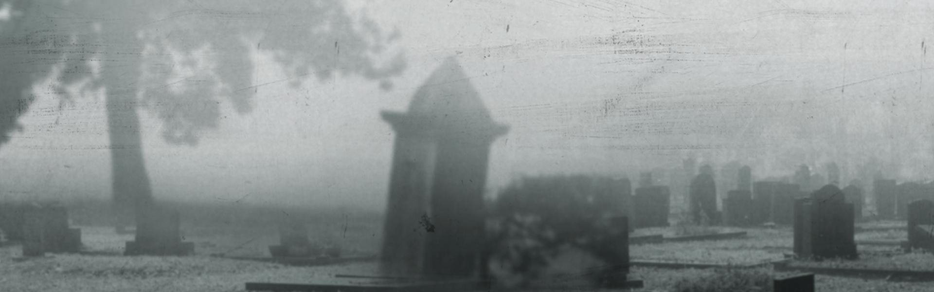 A picture of a foggy cemetery.