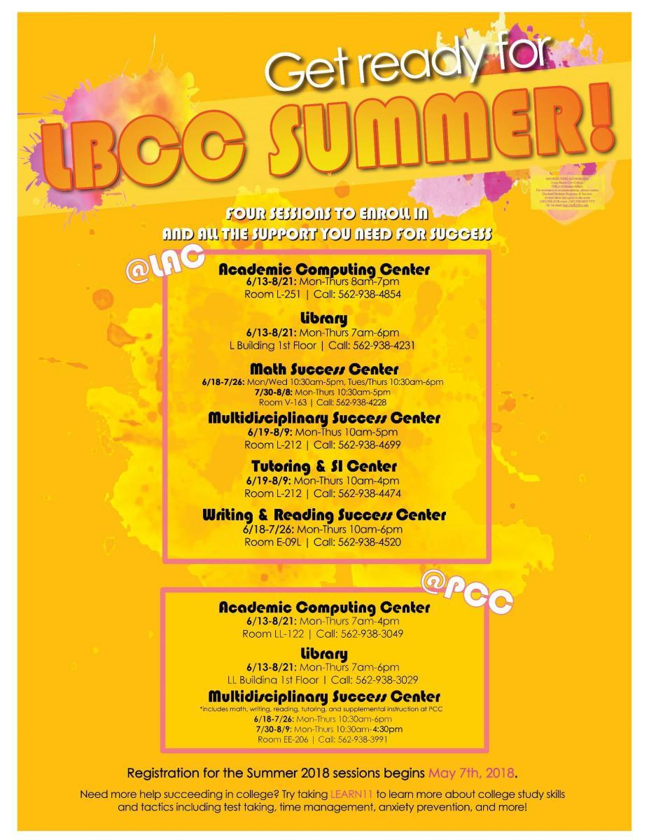 lbcc parking permit LBCC Summer Support Centers - Long Beach City College