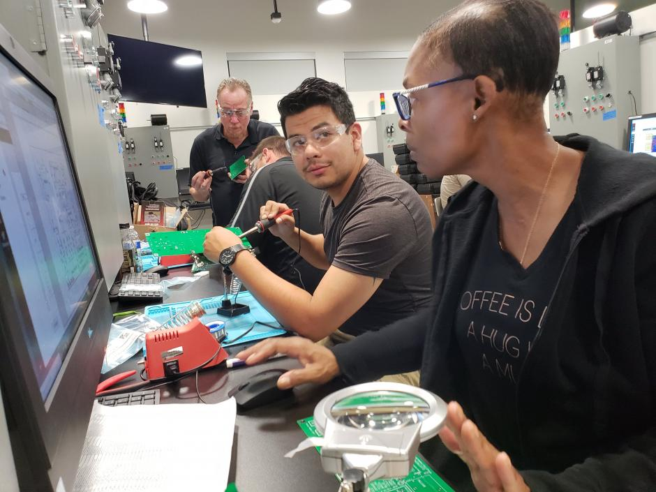 LBCC Electrical students working on project in class