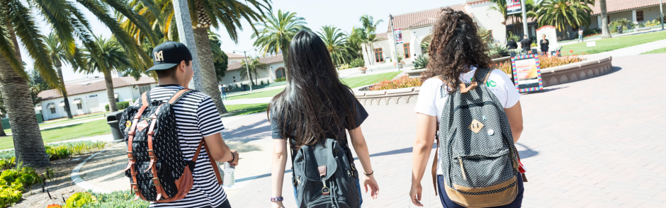 Three LBCC students walking away.
