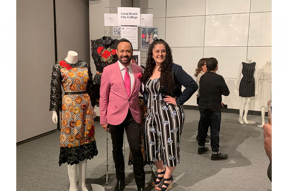 LBCC Fashion student, Becky Annella at the awards banquet for CFA awards.