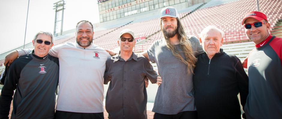 Philadelphia Eagles DE, Bryan Braman and LBCC coaches.