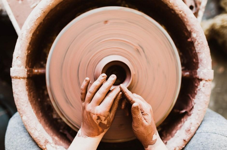 Clay on a potter's wheel.