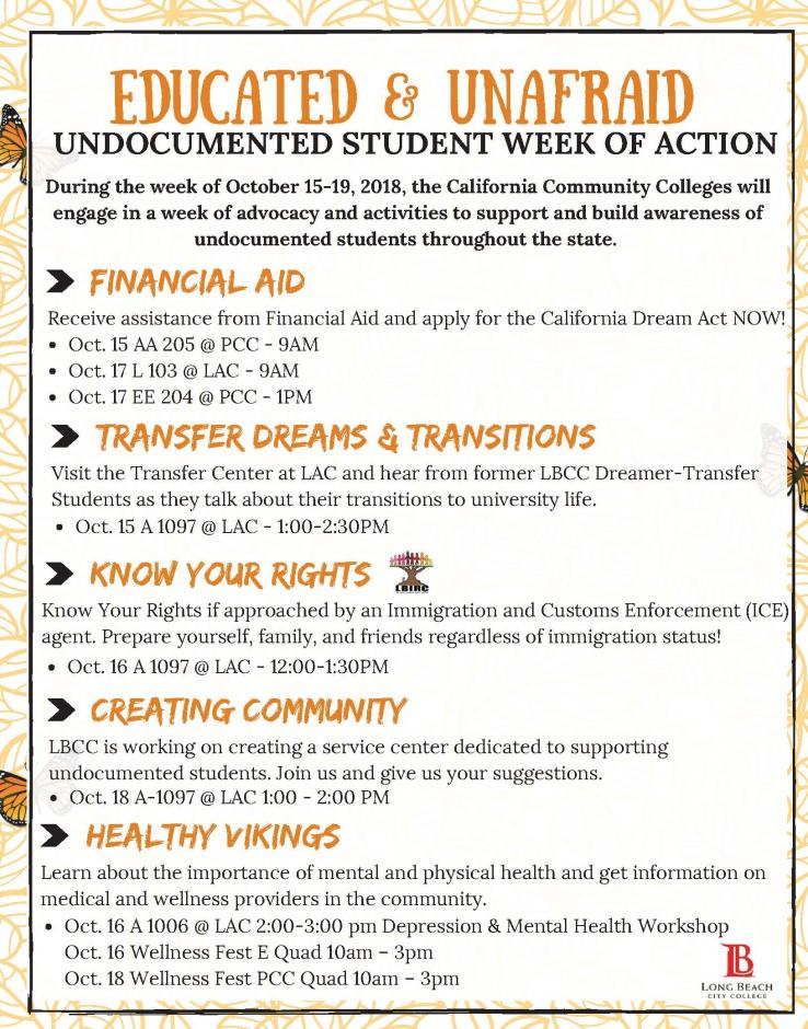 Undocumented Student Week Of Action Flyer