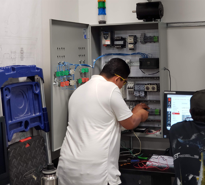 LBCC student operating Electrical Technology