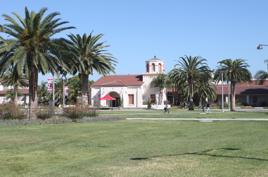 The front lawn near the A Building on the LA campus.
