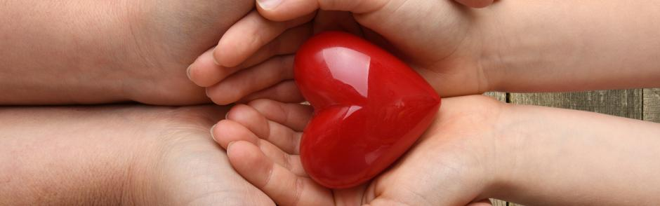 An adult and child holding a heart.