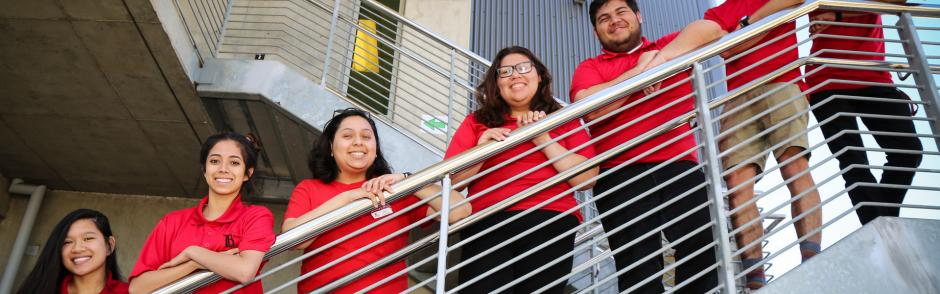 LBCC students standing on a staircase.