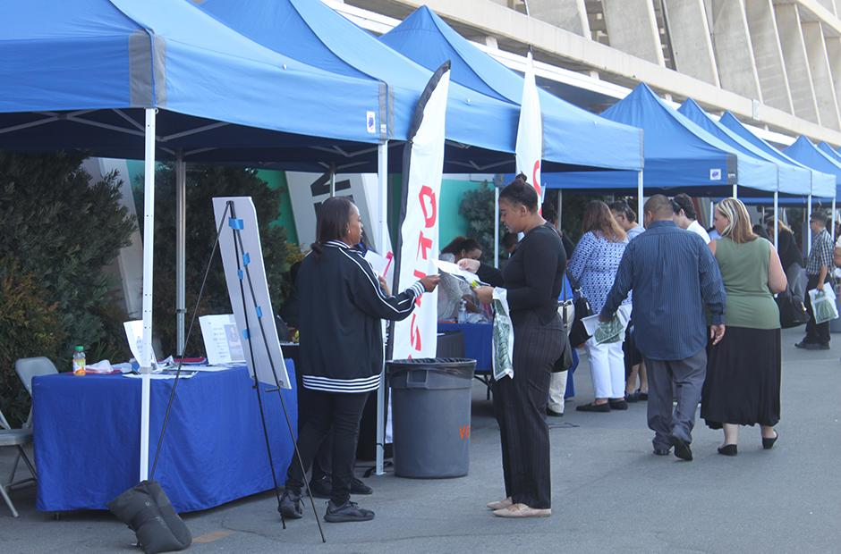 Tents at job fair