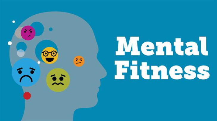 Mental Fitness concept with a person's head and different emoji