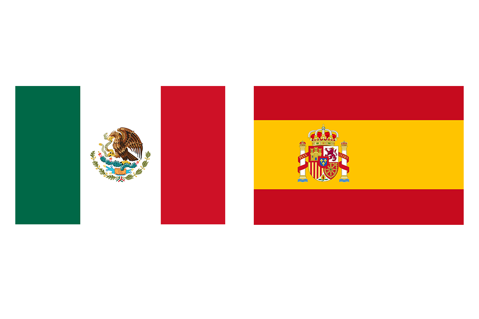 The flags of Mexico & Spain.