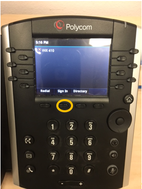 Polycom phone sign-in button