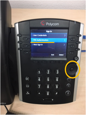 Polycom phone select button
