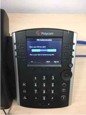 Polycom phone employee ID screen
