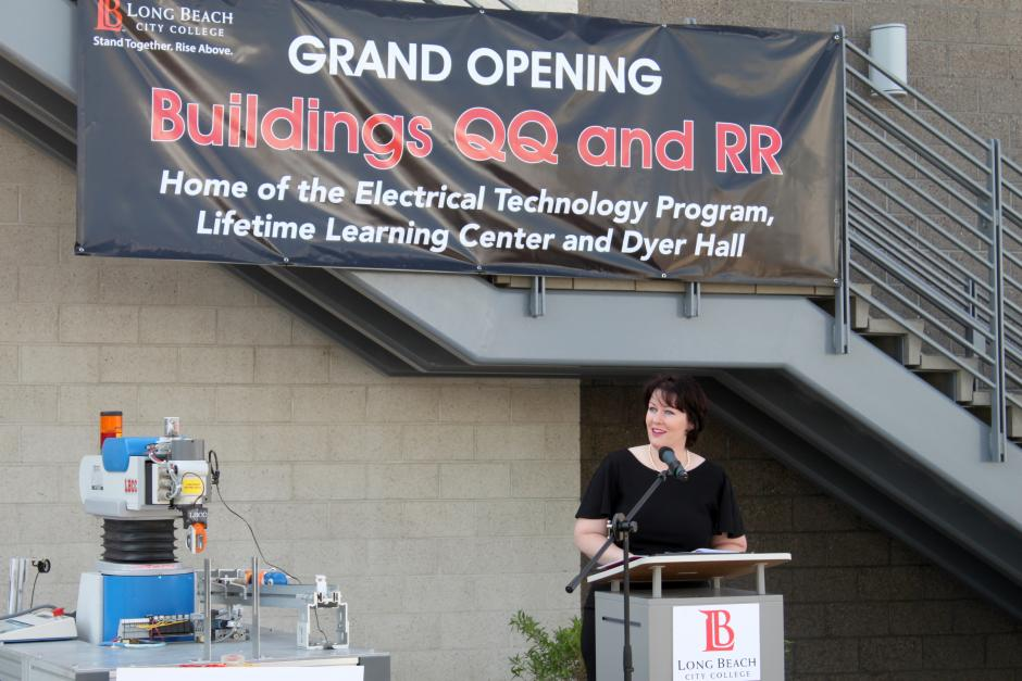 LBCC President Romali addresses the crowd at the opening of the QQ and RR buildings