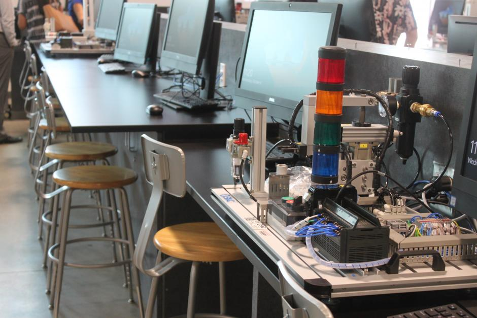 A workstation inside a machine shop in the Electrical Technology building.