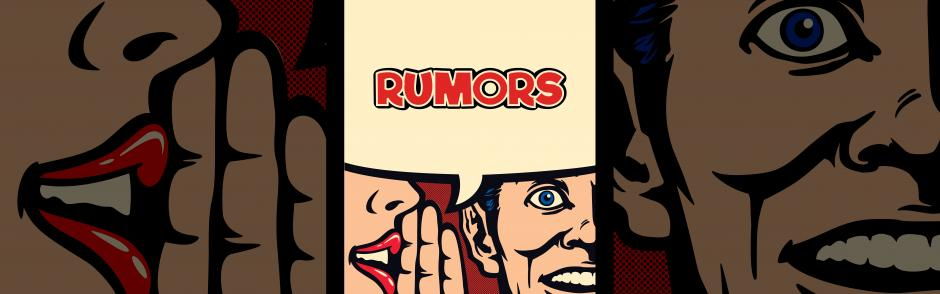 The marquee poster for the play, Rumors.