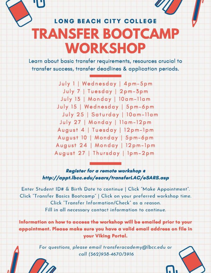 Flyer for Transfer Bootcamp Workshop