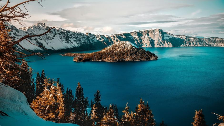 sno covered mountains at Crater Lake