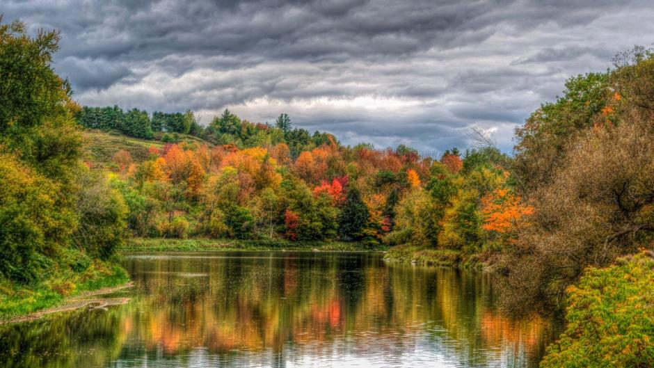 A lake surrounded by colorful trees in Vermont
