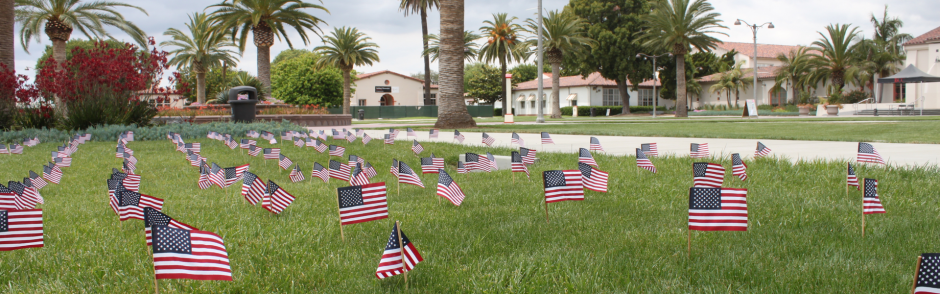A picture of the front lawn of the LAC campus with small US flags planted in the grass.