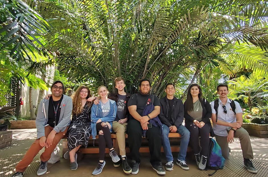 LBCC Anthropology Student Association field trip photo in a garden