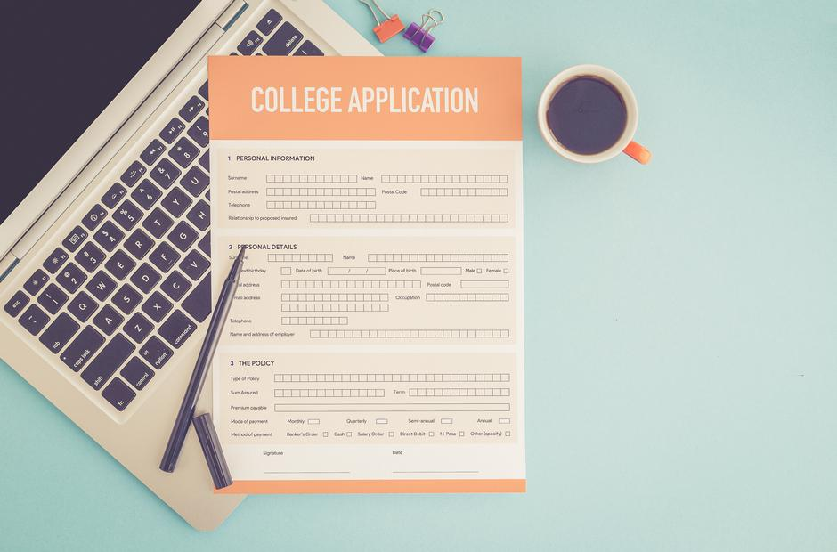A college application on a laptop.