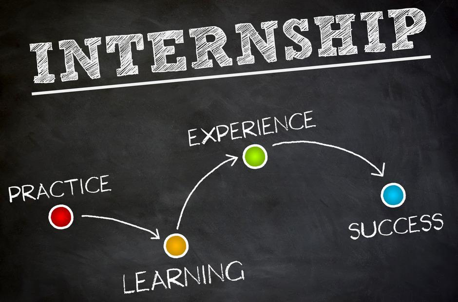 "The words ""internships"" written on a chalkboard."