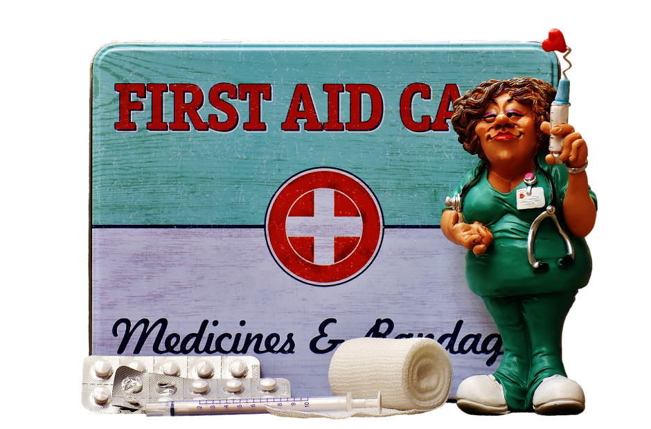 First Aid Care Medical Box with a nurse