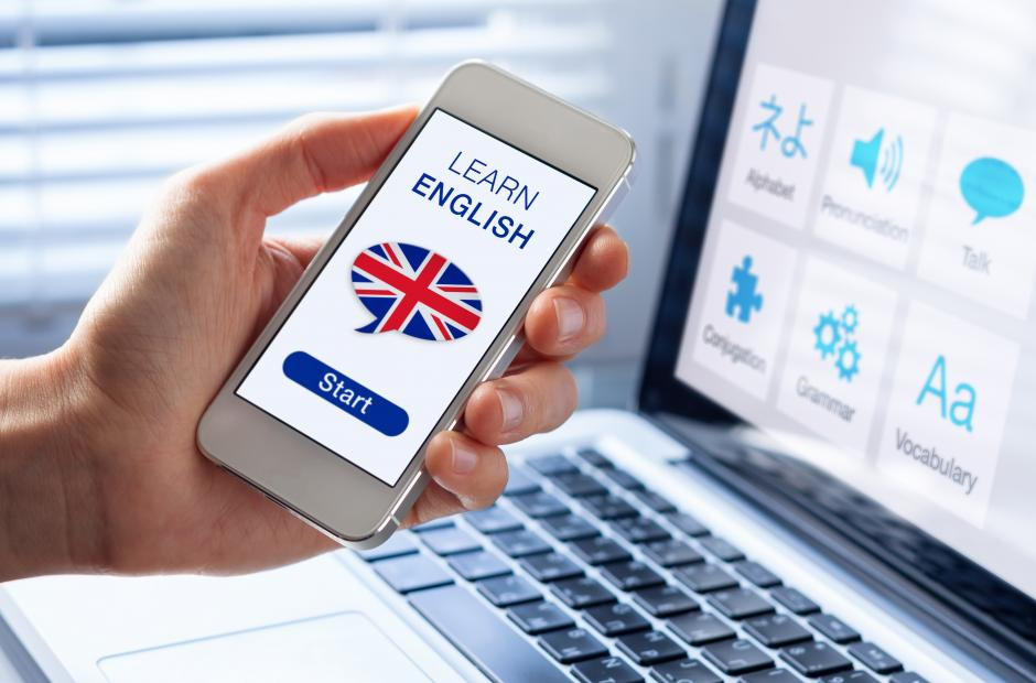 Learn English with cell phone and computer