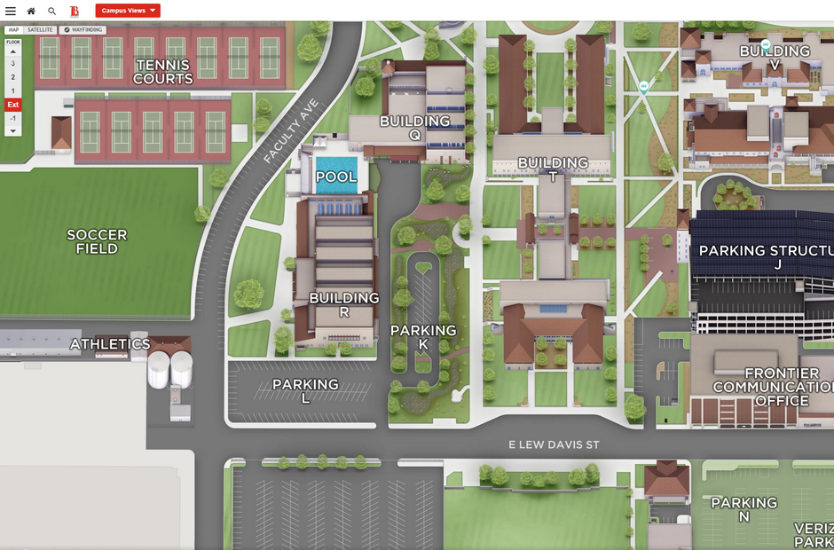 Virtual map render of the LAC Campus.