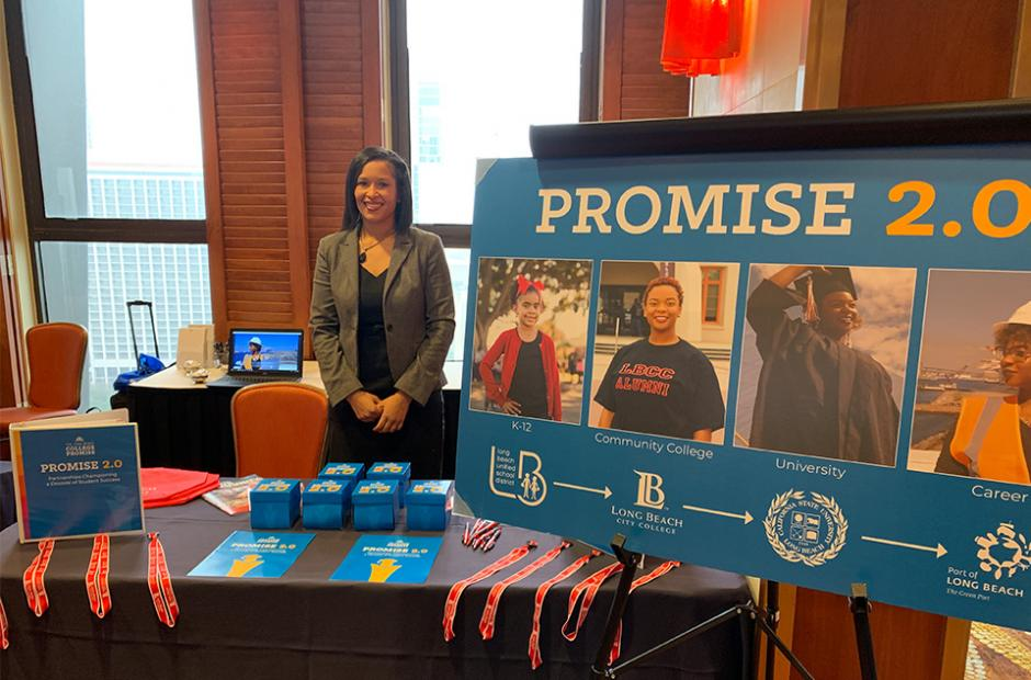 Promise 2.0 Promise pathway poster and event booth at the Long Beach City Bellweather event