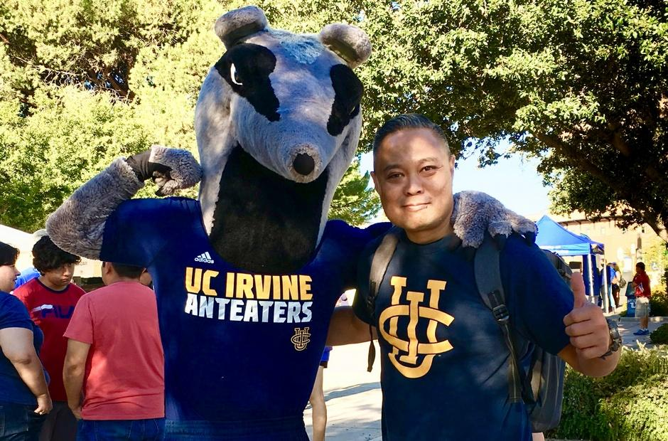 LBCC staff with the UC Irvine mascot.