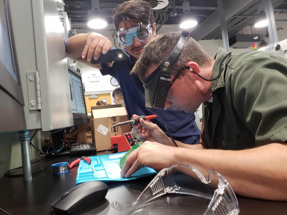 LBCC Students working on project in Electrical Technology Lab