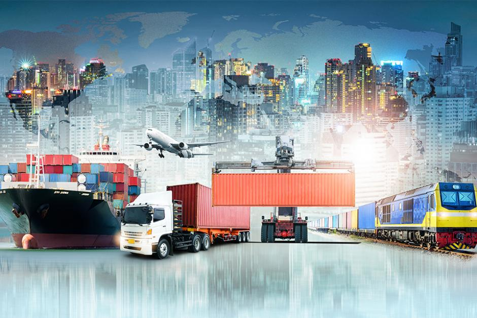 Multiple transportation and shipping methods for international business, including train, truck, airplane and boat.