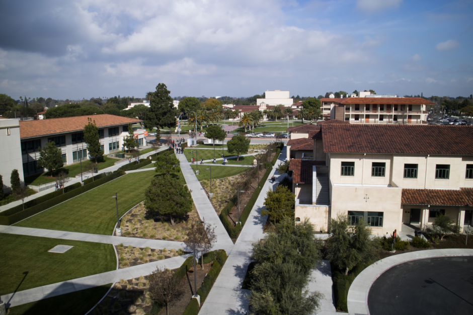 Wide shot of the campus overlooking the T and V buildings.