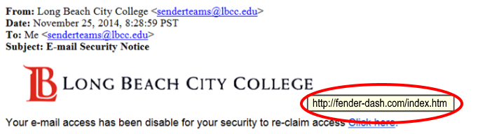 Phishing Attempt with LBCC logo