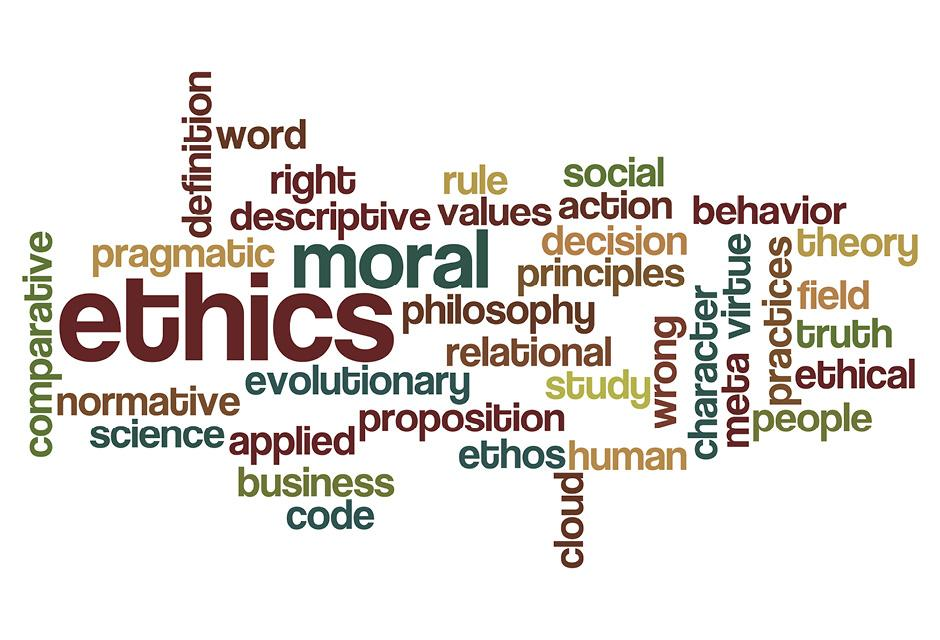 ethics moral philosophy word cloud concept on white
