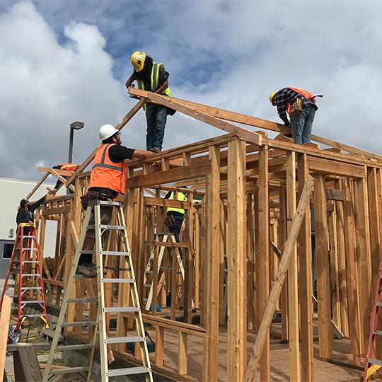 LBCC Students working on LBCC campus to learn how to construct houses