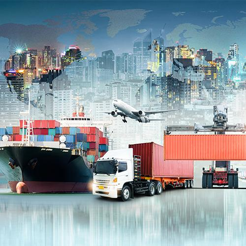 Boat with goods, train, and airplane transportation for international business
