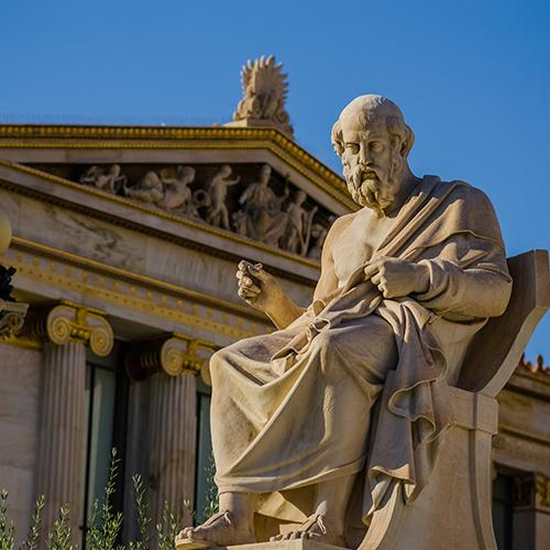 Marble statue of the great ancient Greek philosopher of Plato