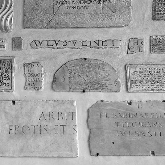 Marble plates with an inscription in latin