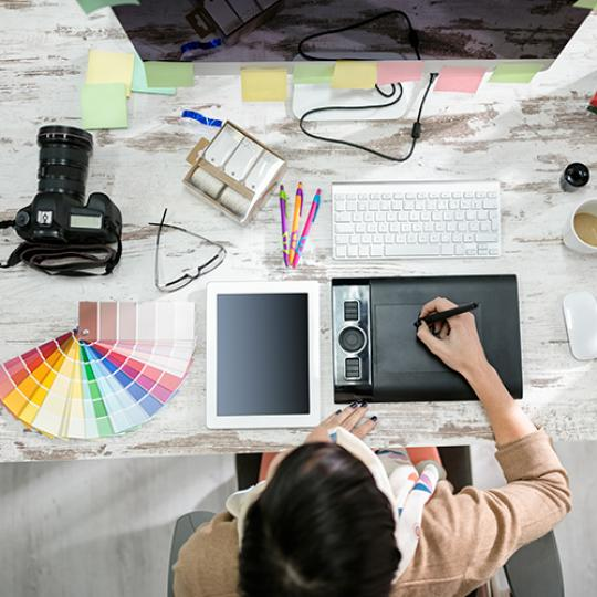 Graphic designer's workplace